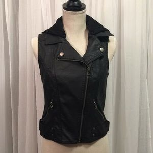 Faux Leather Black Zip Up Hooded Motorcycle Vest